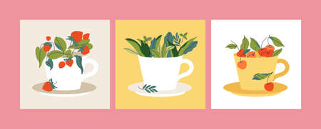 Vector set illustration tea cups full of berries and leaves. Cherry, strawberry and herbal tea. Stock Illustratie