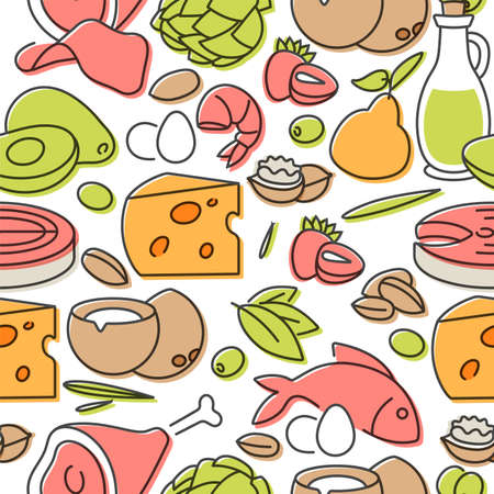 Vector illustartion keto diet products. Healty eating concept. Seamless pattern.