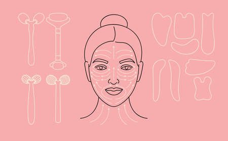 Vector illustration method fo face massage. Female face with arrow lines. Set of various cosmetic beauty devices. Stock Illustratie