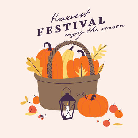 Vector illustration for harvest autumn festival. Sketch style a straw basket with a pumpkin for invitation on event, party. Stock Illustratie