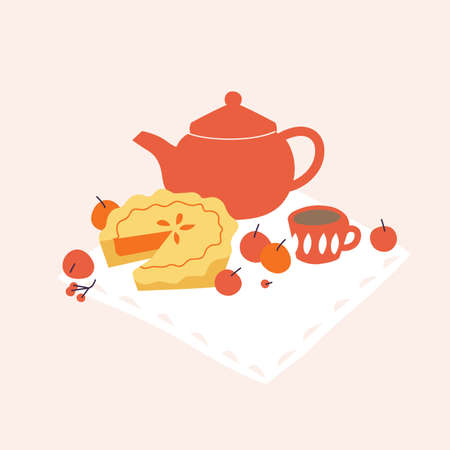 Vector illustration comosition with apple pie, tea pot and apples. Fall mood concept.