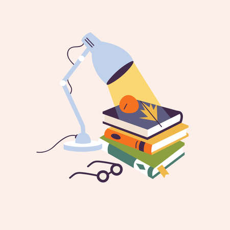 Vector illustration composition table lamp with different books and glasses.