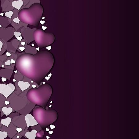 Card width purple hearts Stock Photo
