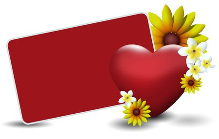 Red valentines card with red heart and yellow and white flowers. photo
