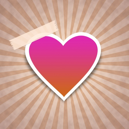 Stylish pink and orange heart on stripe paper. photo