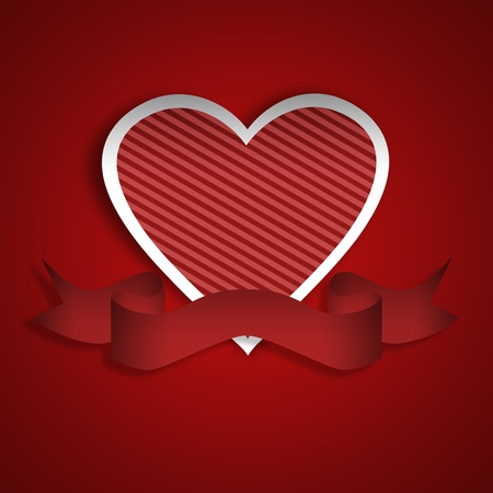Paper heart with stripes and red banner. Red background with white outlines.  Stock Photo