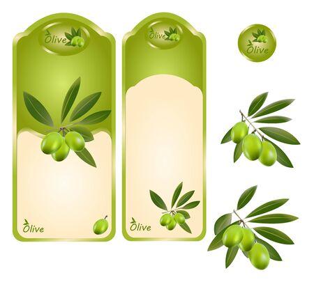 olijf: Een set van olijfolie etiketten, groene olijven. Stock Illustratie