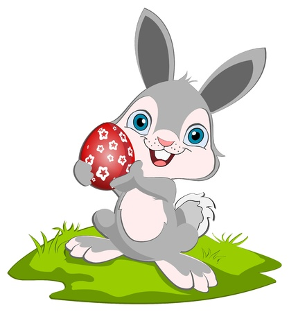 Easter Bunny holding o rad easter egg and smiling.