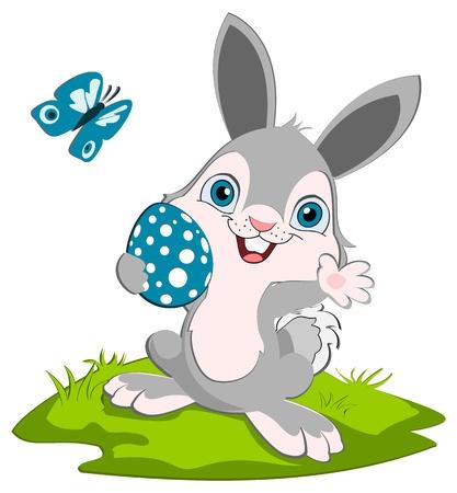 Easter Bunny holding an egg, weaving.