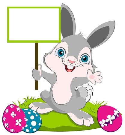 osterhase: Osterhase mit einem Schild und Weben, bunte Eier auf dem Boden. Illustration