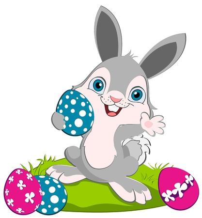 osterhase: Osterhase h�lt ein blaues Ei und Weben, moar Eier auf dem Boden Illustration