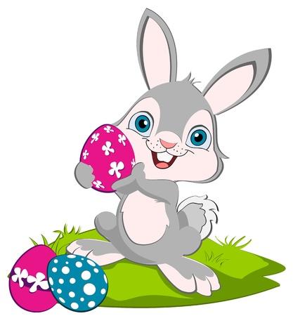 conejo caricatura: Conejo de Pascua que sostiene un huevo de color rosa y tejido, huevos moar en el suelo Vectores
