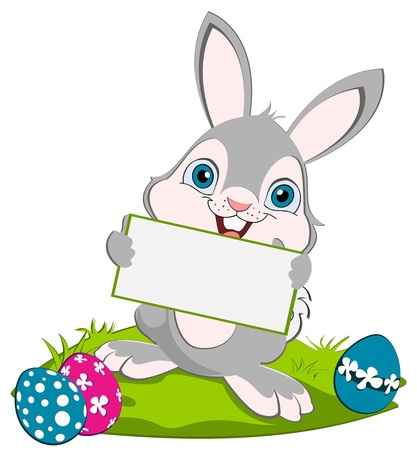 Easter Bunny holding greeting card and smiling. Tree eggs on the ground. Illustration