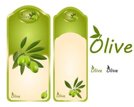 olive oil: Set off olive oil labels Illustration