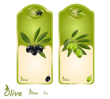 Set off olive oil labels for green and black olives