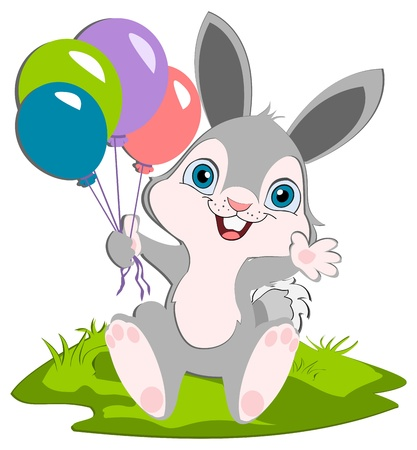 A cut bunny hoalding balloons smiling and weaving.