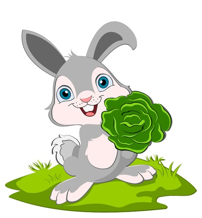 A cut bunny hoalding a cabbage and smiling.