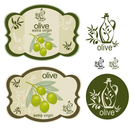 A set off vintage olive products labels and an interesting logo. Illustration