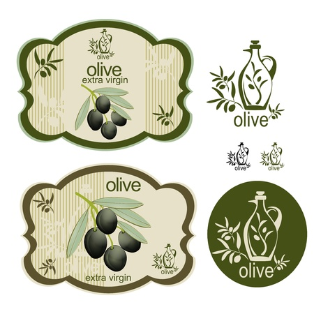 A set off vintage black olive labels and an interesting logo on the side. Ideal for olive products. Vector
