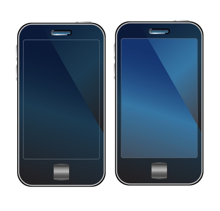 A set off dark blue cellphones width dark  blank screens. Illustration