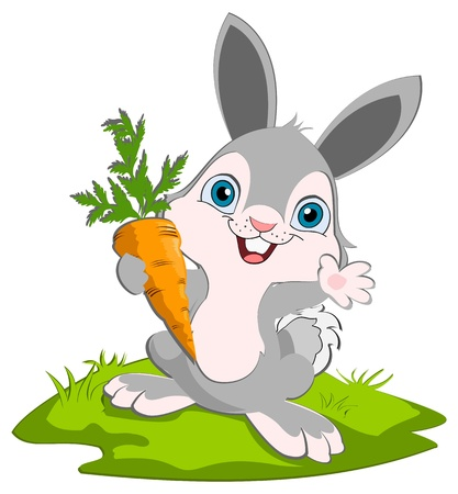 A cute bunny holding a carrot smiling and waving.