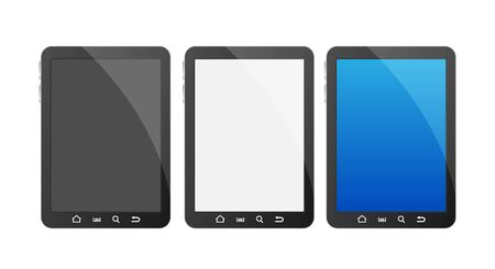 A set off tree tablets width different color blank screens.  Vector