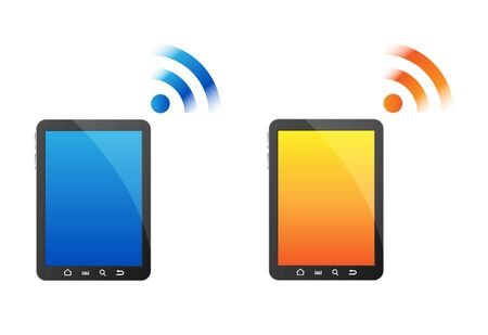 wireless connection:  A set off two tablets phones one width a blue screen and width an orange screen making an wireless connection.  Illustration