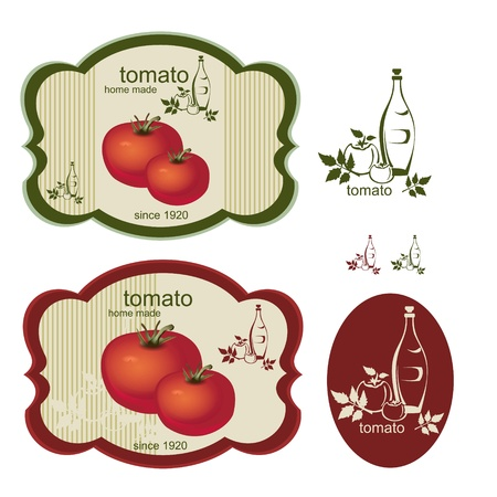 Vintage tomato labels and an interesting logo. Isolated on white.