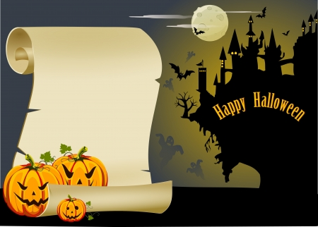 haunted: An intrestin halloween teamed card. Illustration