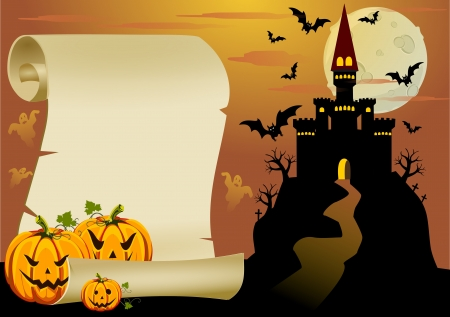trick or treat: An intrestin halloween teamed card. Illustration