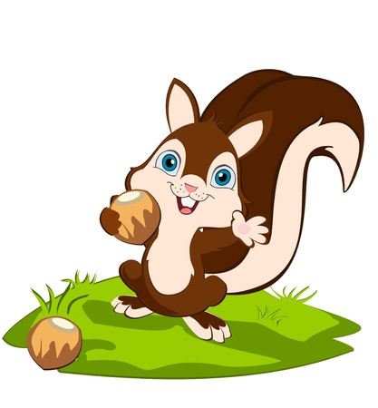 Squirrel holding a nut and weaving,smiling, standing on the ground. Cartoon character.