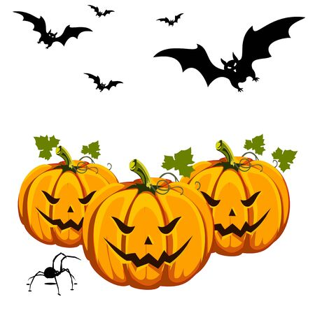 black widow: An interesting Halloween teamed illustration, width tree cut out pumpkins bats flying around and a scary black widow on the ground. Isolated on white.  Illustration