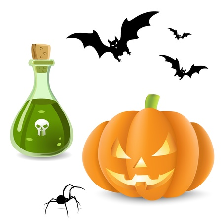 poison bottle: An illustration containing Halloween elements, a cut out pumpkin, bats flying around a poison bottle  and spider.