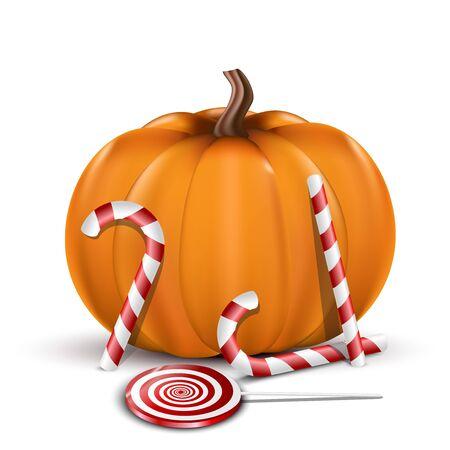 Halloween pumpkin width candy. Stock Vector - 15326972
