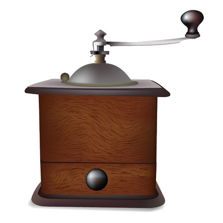 grind: Antique coffee grinder.