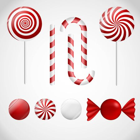 candy cane: A set of red an white candy.