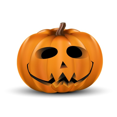 witch face: Halloween pumpkin realistic isolated on white.