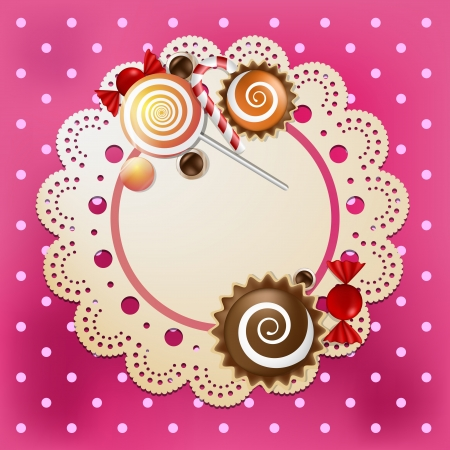 Candy on a lace and silk table cloth  Illustration