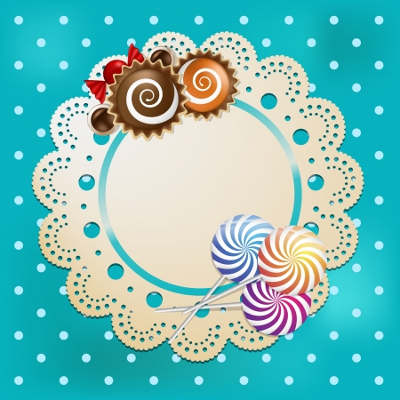 Candy with blue table cloth and lace