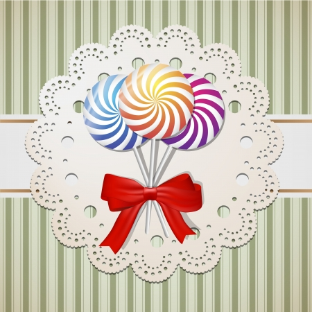 Lollipops and a bow on lace and vintige paper  Vector