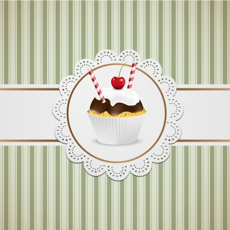 Cupcake with chocolate an candy on lace and vintige paper