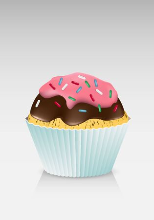 Cupcake with chocolate and candy on top Vector
