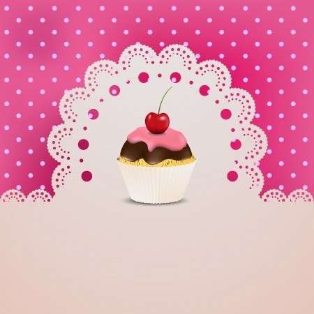 Cupcake with pink creme on lace and a silk table cloth  Vector