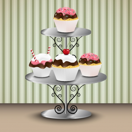 Cupcakes on the stand vintage wallpapter in the background  Vector