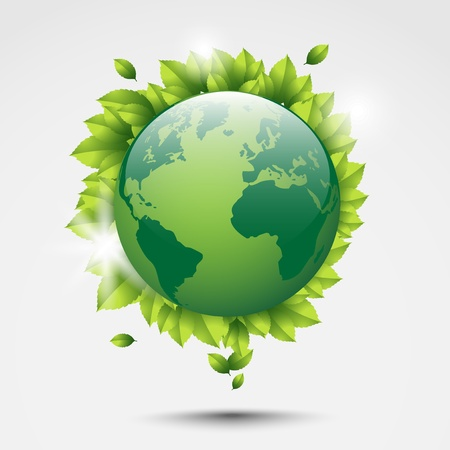 width: Eco world width leaves around  Illustration