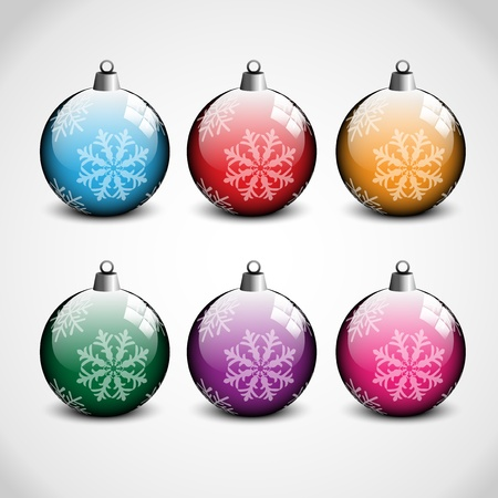 Christmas ornaments in 6 colors Stock Vector - 15713633