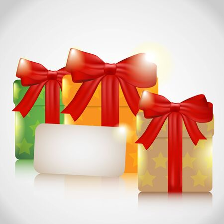 width: Green, orange, brown  Christmas presents width red bows  with card.