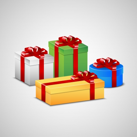 A set off Christmas presents. Stock Vector - 15824890