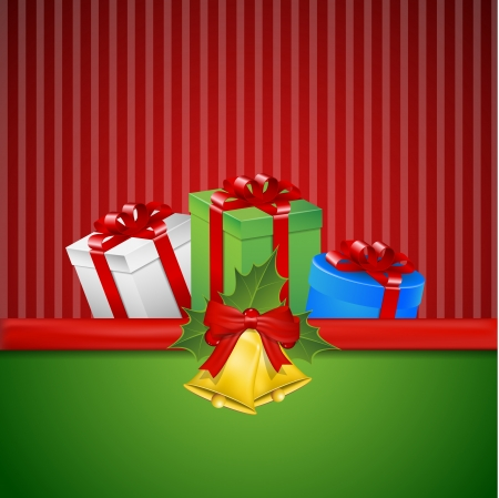 Christmas bells, mistletoe and presents with red striped and green background  Vector