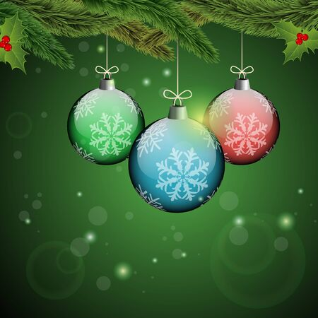Christmas ornaments with Christmas tree branches on a green sparkly background   Vector